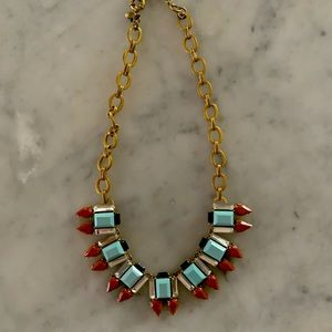 JCREW Chain Glass and Ceramic Necklace